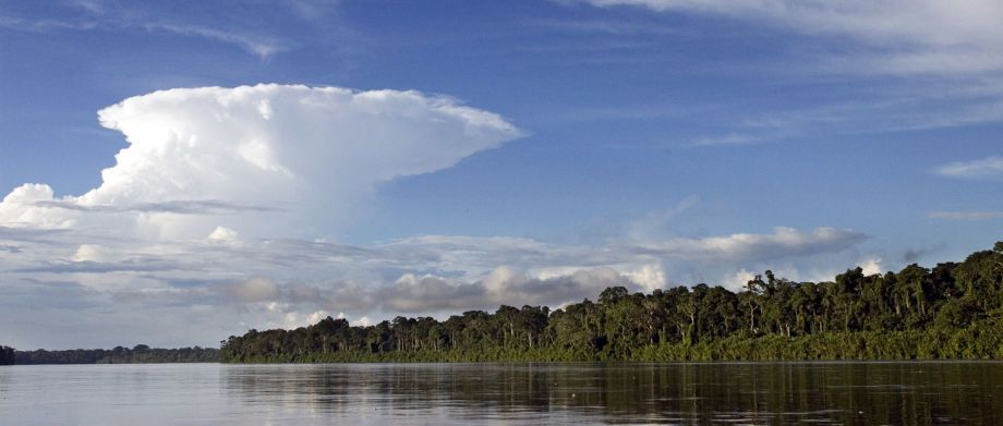 A view of the Pastaza River, a major tributary of the Amazon River, in the Achuar territory of the southern Amazon.