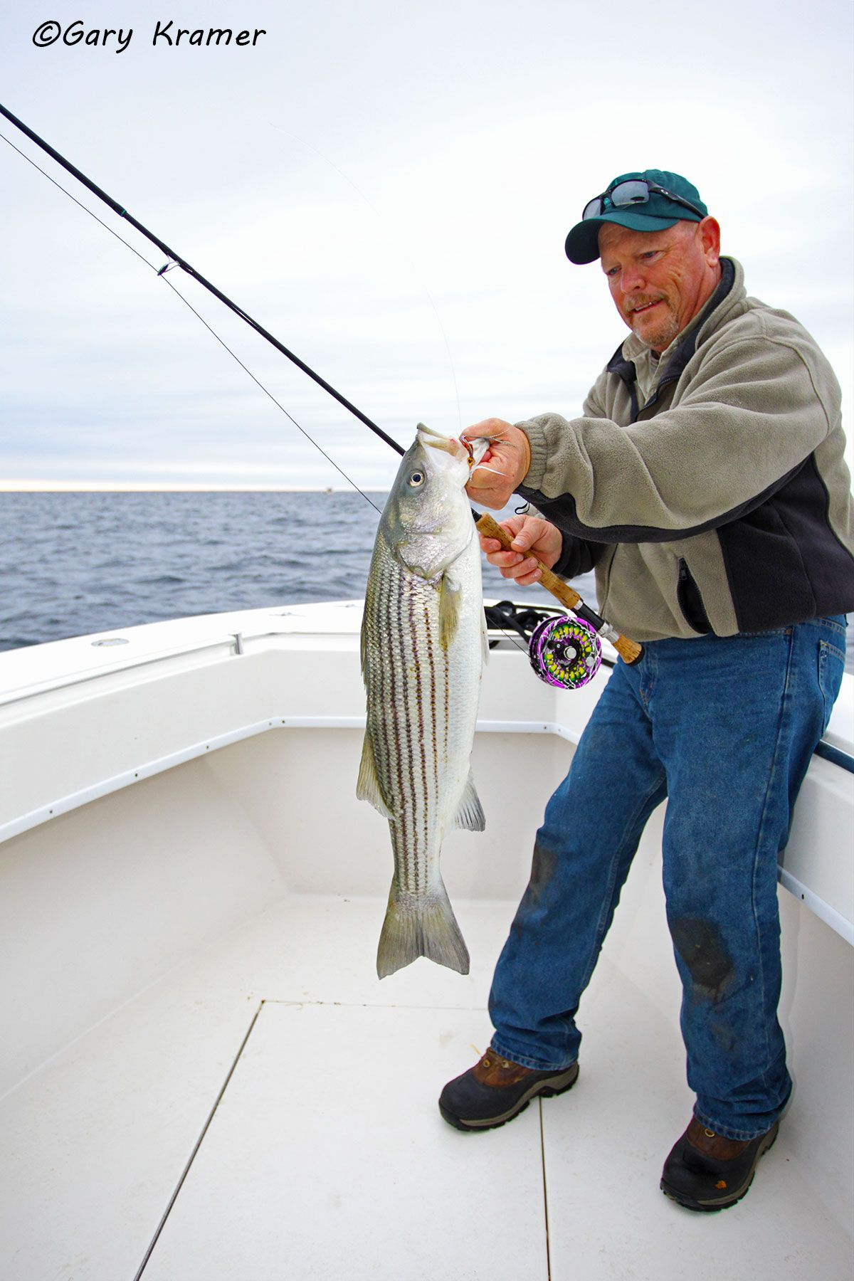 Flyfisherman (Carl Rey) w/Striped Bass - NFSsb#059d