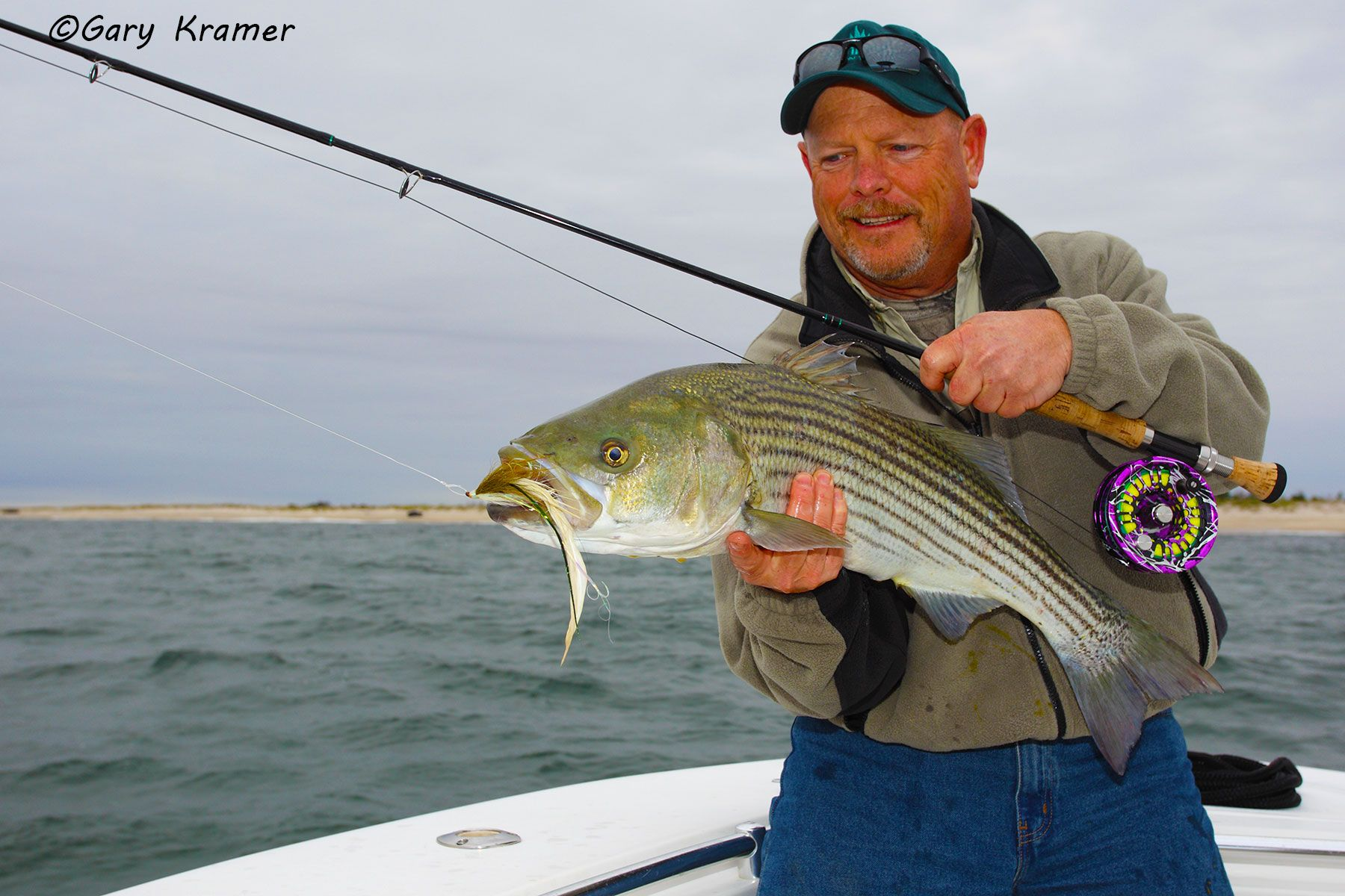 Flyfisherman (Carl Rey) w/Striped Bass - NFSsb#067d