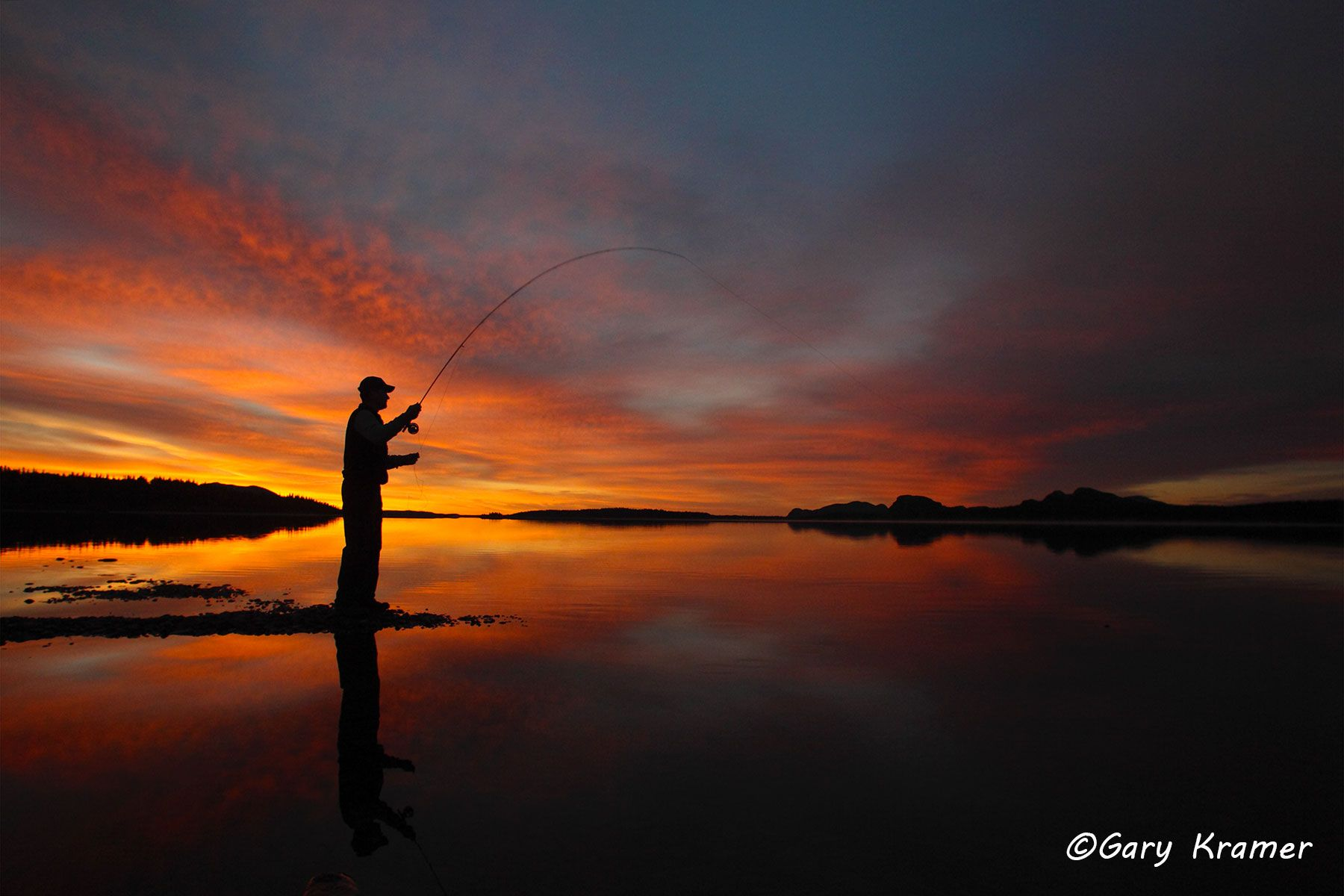Fly Fisherman at Sunrise/Sunset - GFFs#009d