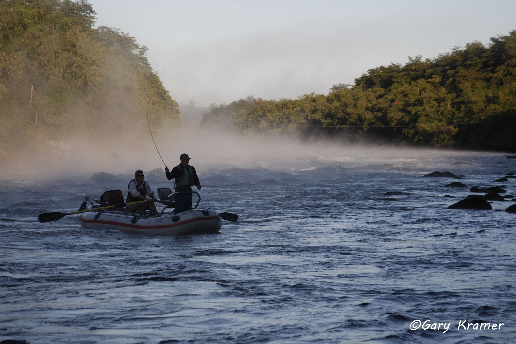Flyfishing for Trout from rubber raft, Chile  - NFTdr#084d