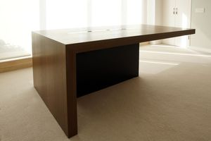Upper East Side penthouseCustom lacquer and walnut desk for two