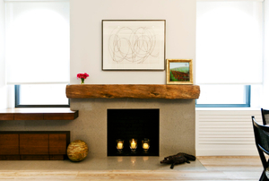 Upper West Side loftFireplace bridges ktichen and dining