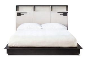 Upper West Side skyriseCustom leather and bronze bed