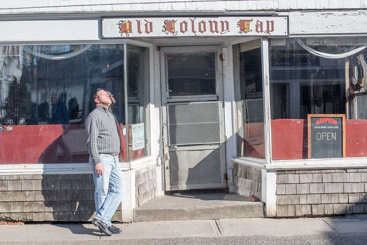 Smoking Outside the Old Colony Tap