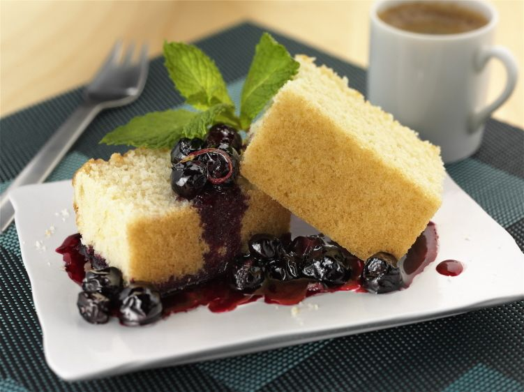 Olive Oil Cake with Blueberry Sauce