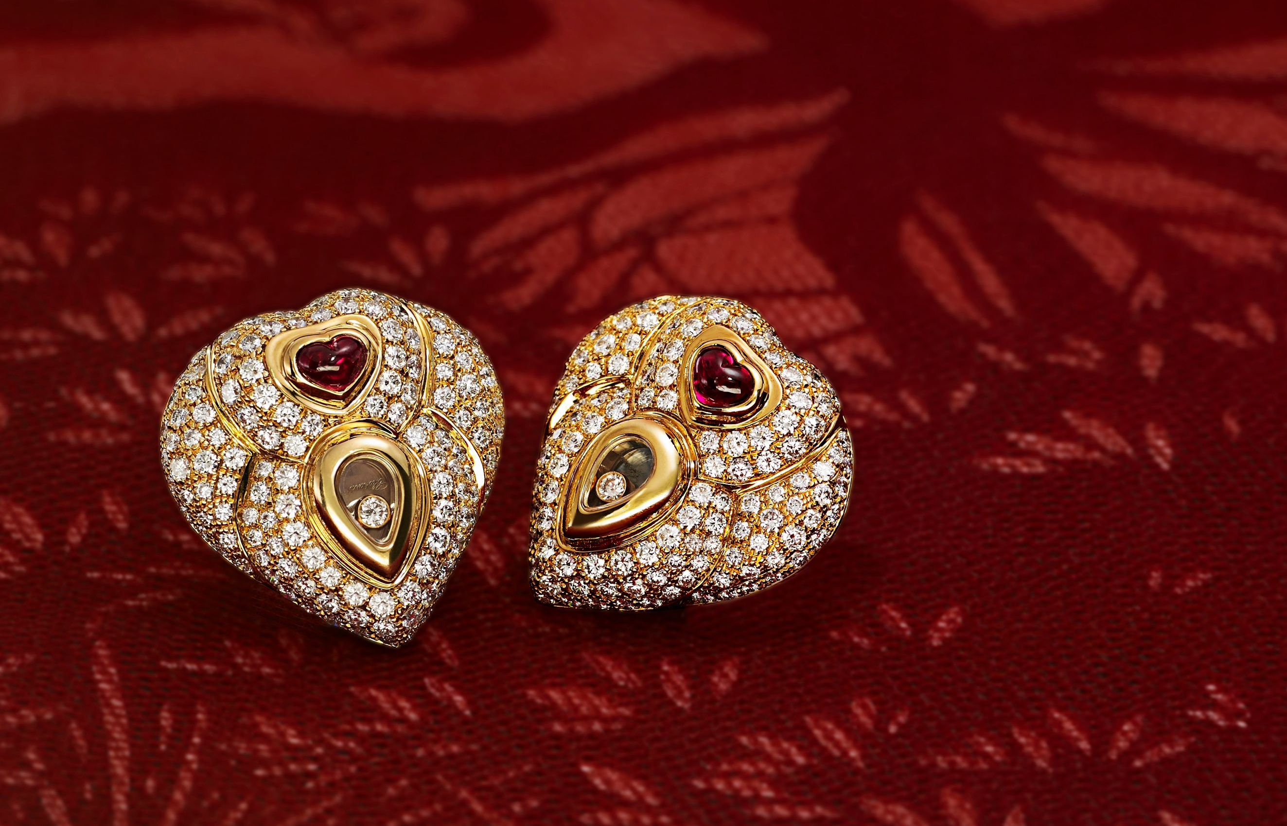 Chopard Heart Ruby and Diamond gold earrings