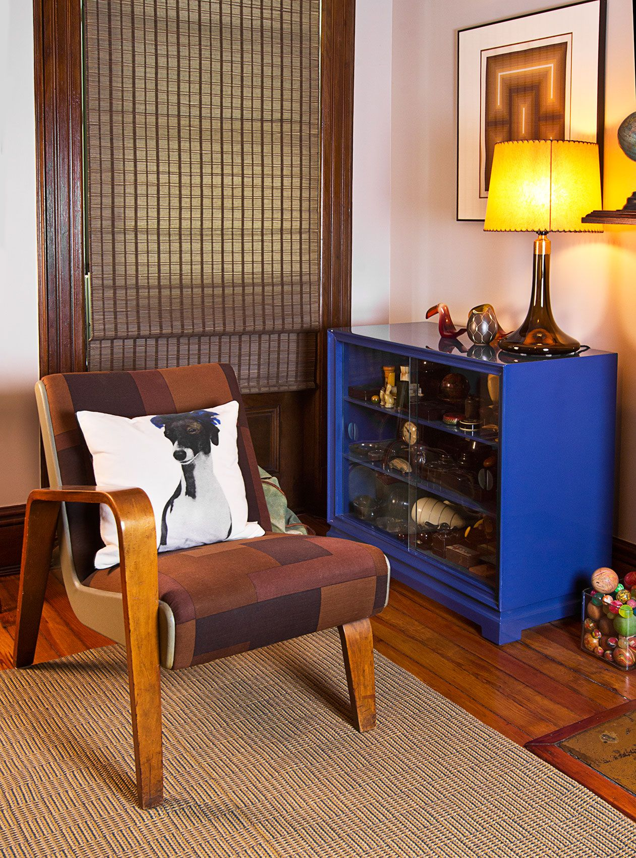 Blue lacquer bookcase in Bedford-Stuyvesant brownstone