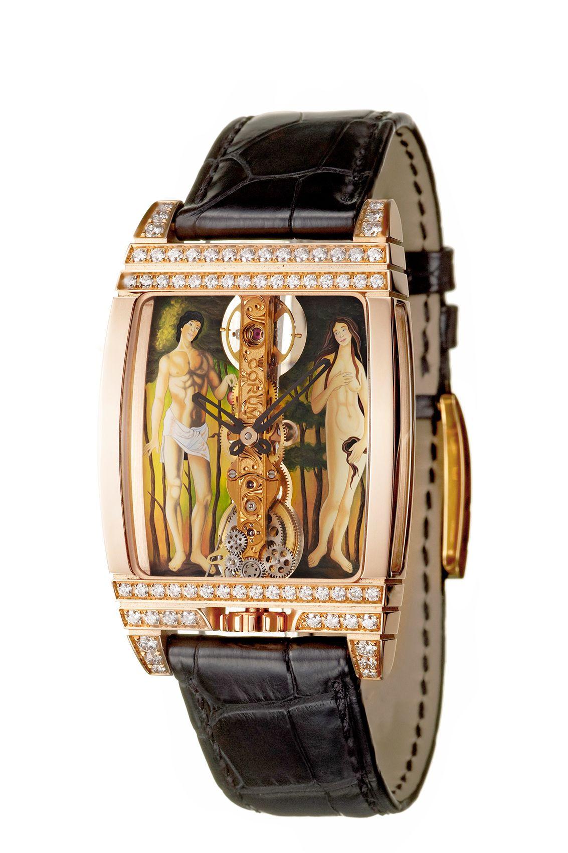 Corum Adam and Eve gold and diamond bezel watch.jpg