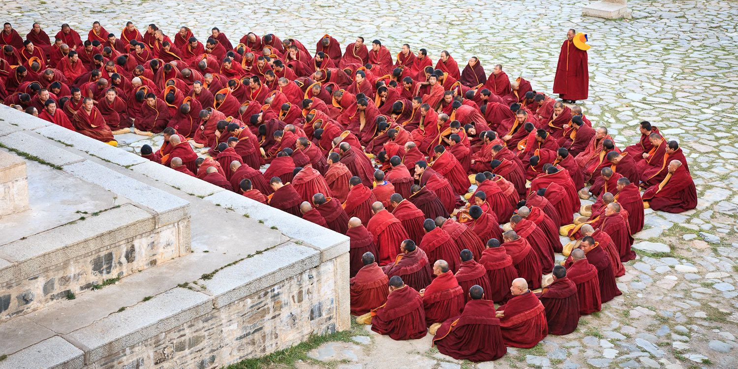 Monks at Labrang Monastery, Xiahe, Gansu, China.