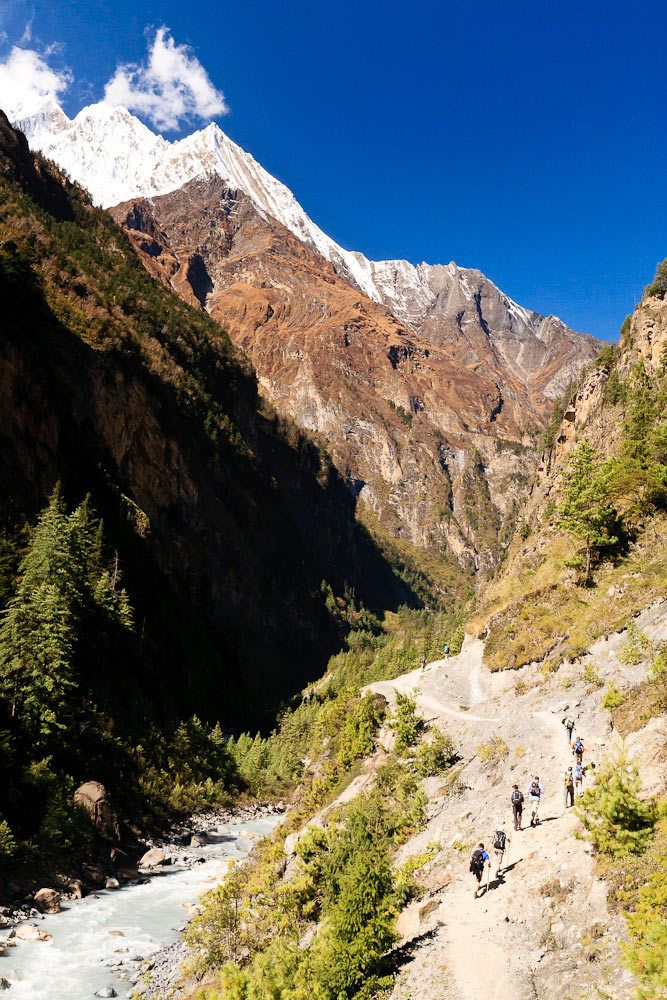 A group of trekkers on the Annapurna Circuit, Nepal.