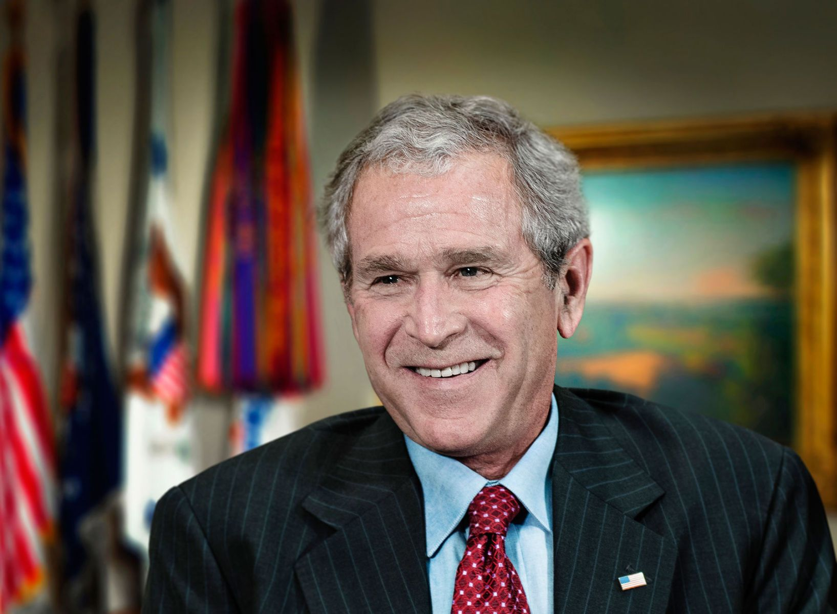 President George W. Bush-  in the Roosevelt room of The White House