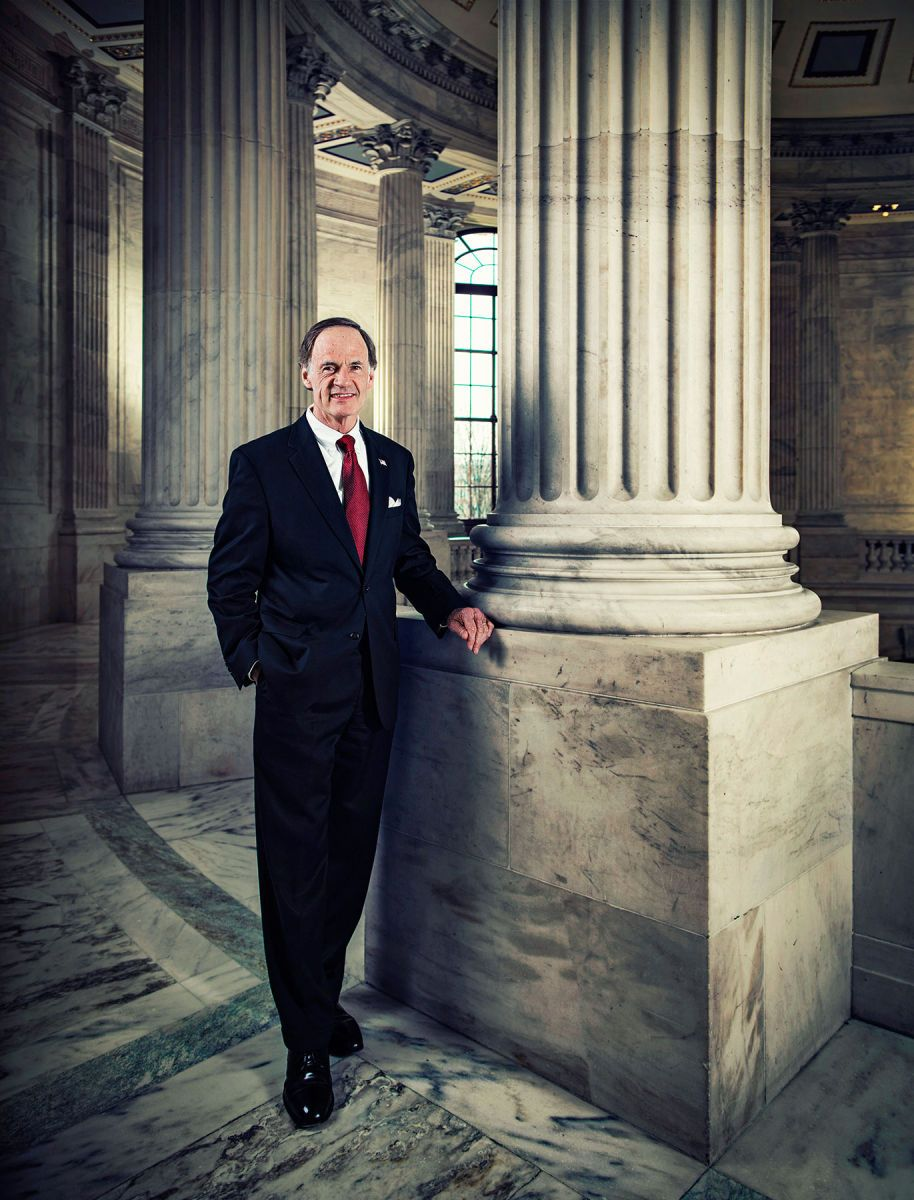 US Senator Tom Carper (Delaware) photographed in the rotunda of the Russell Senate Office Building, Washington, DC