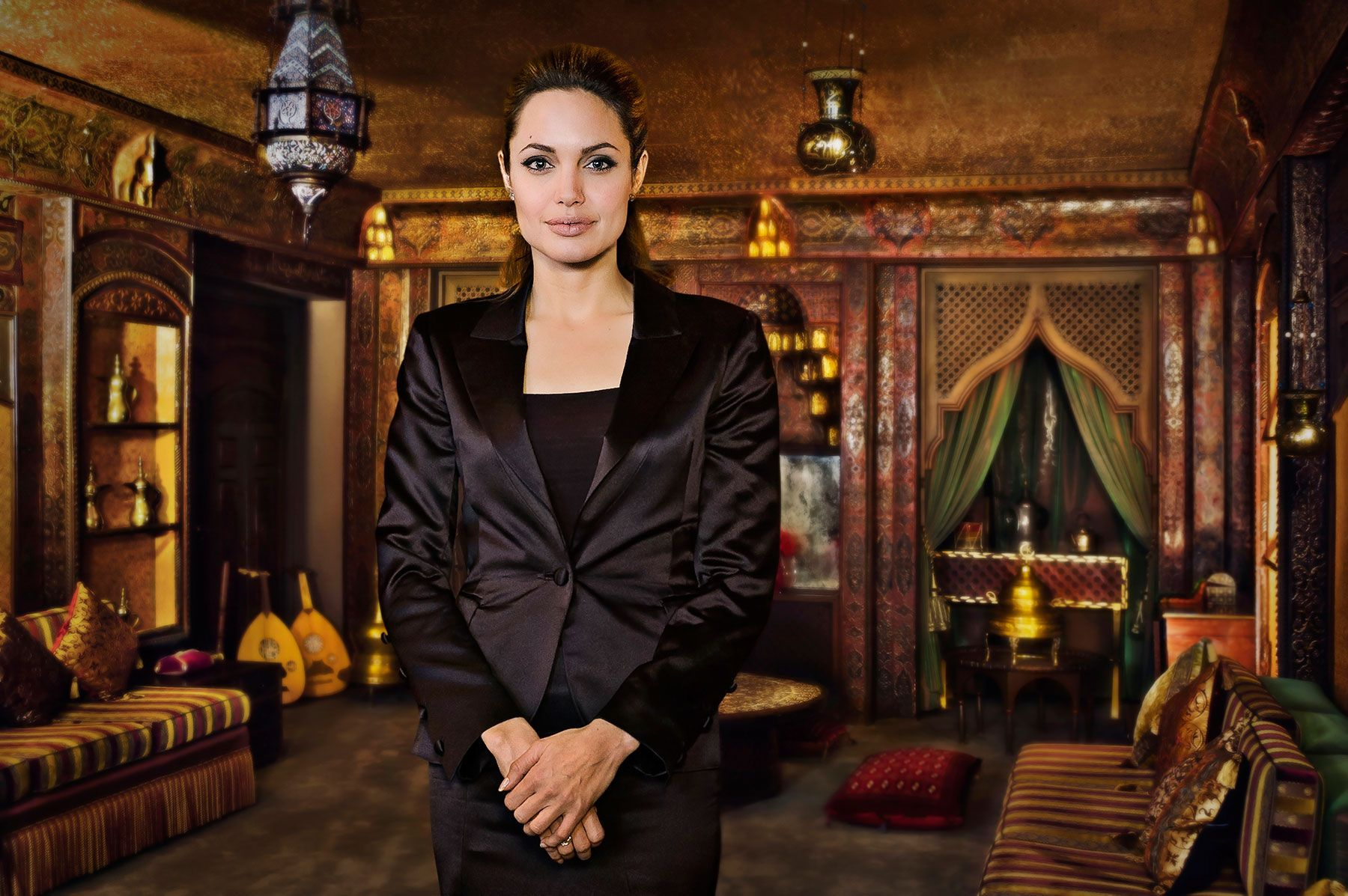 Angelina Jolie in the tea room of the Embassy of Kuwait-  Washington,  DC