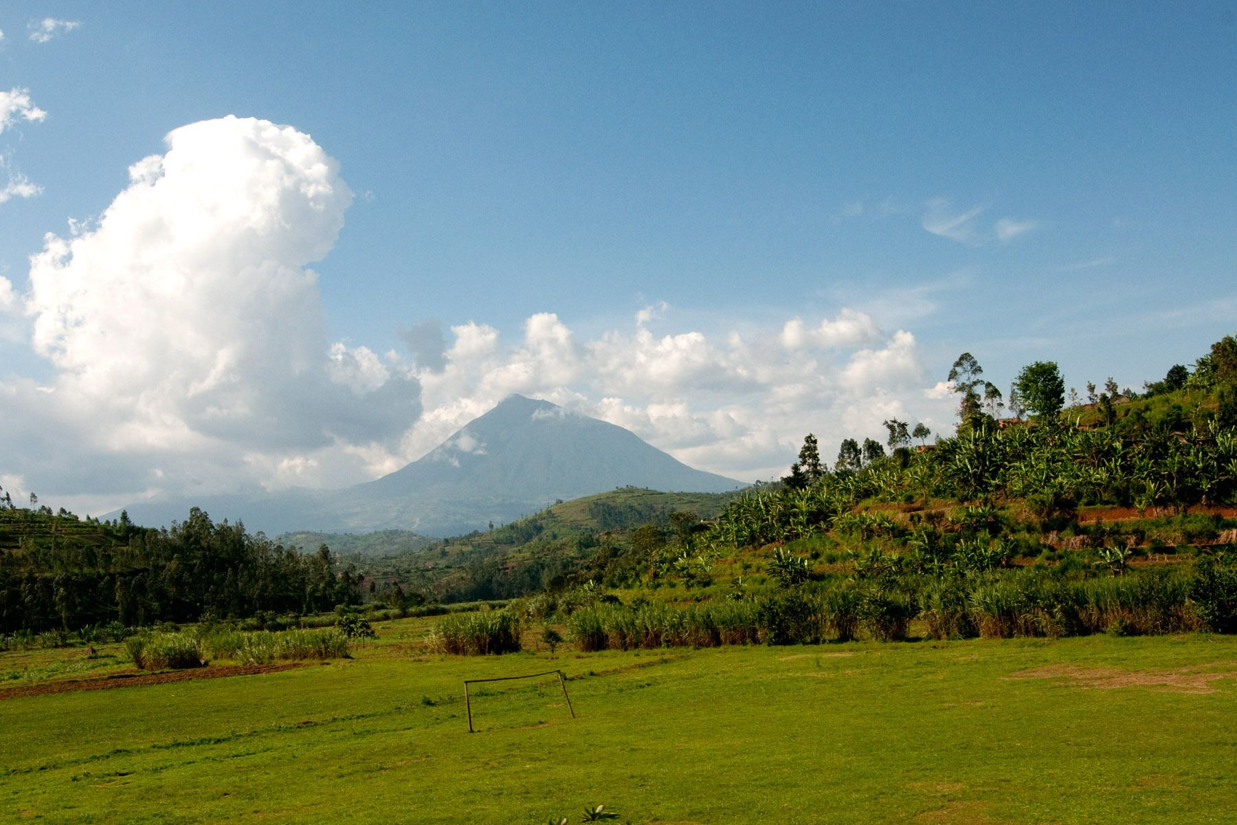 One of peaks in Volcanoes National Park, Rwanda, looms on the horizon.