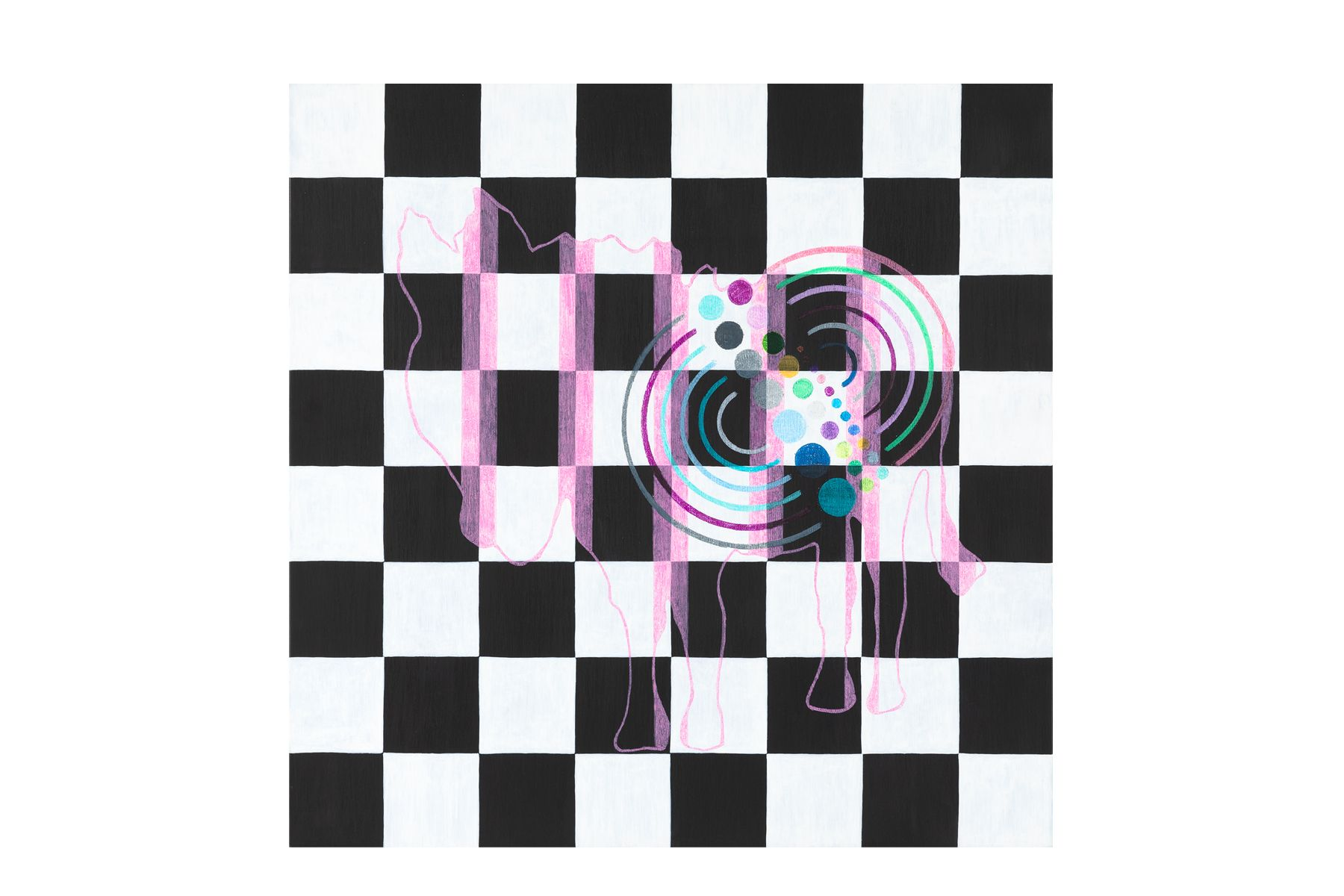 Black and White Checkered Board with Pink Donkey
