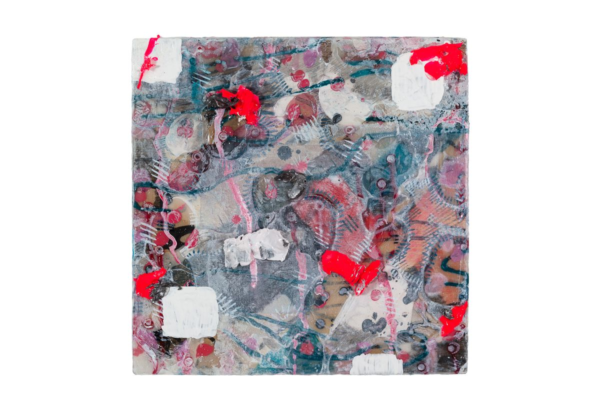 Messy Red, White and Blue abstract