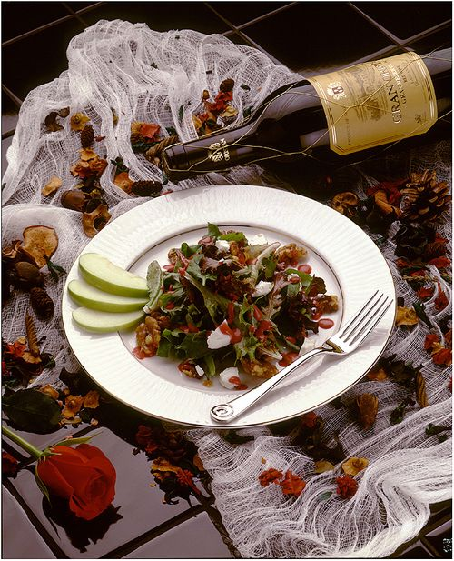 Denver Food Photographer  Salad and wine