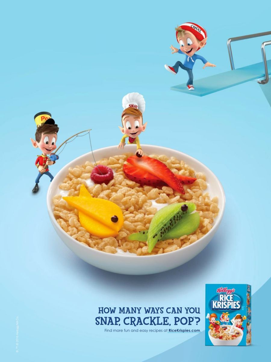 Kellogg's Rice Krispies, snap, crackle, pop, fishing