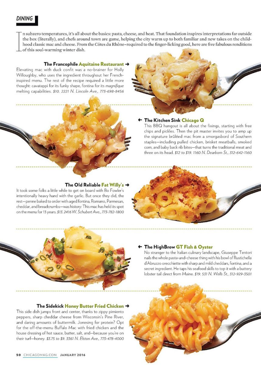 Best Mac & Cheese, Chicago Magazine 2016