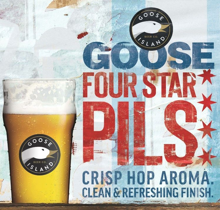 Goose Island Brewing, four star pils in pint glass ad
