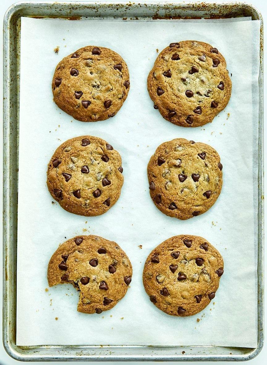Sheet pan of Chocolate Chip Cookies
