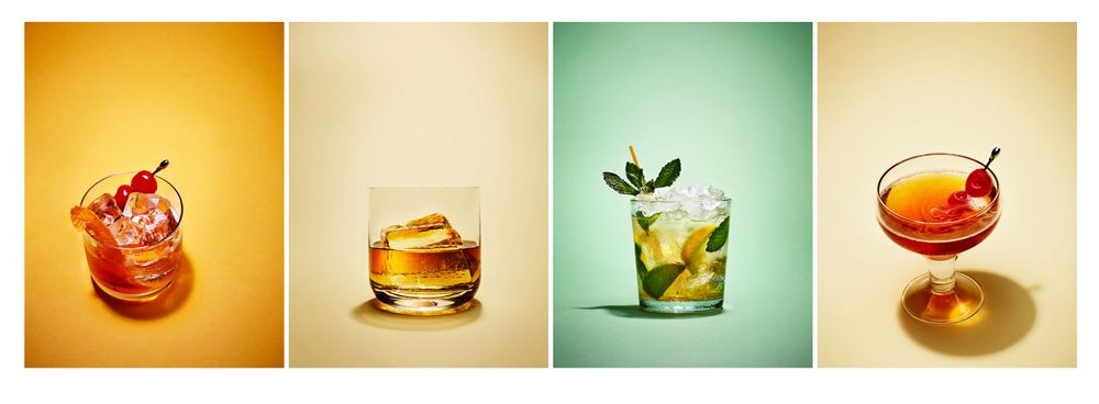Bourbon Cocktails with hand crafted ice cubes.