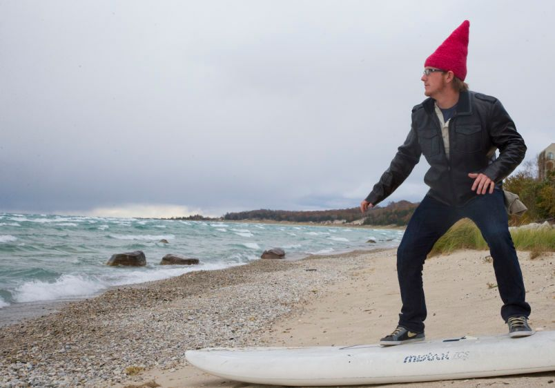 Surfing Gnome on the shores of Michigan