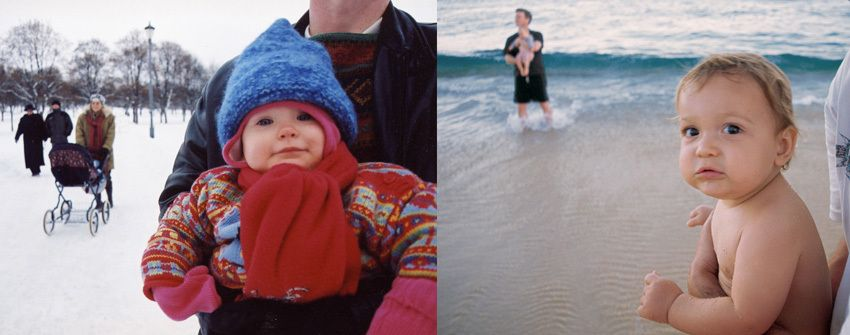 Baby in snow and on the beach