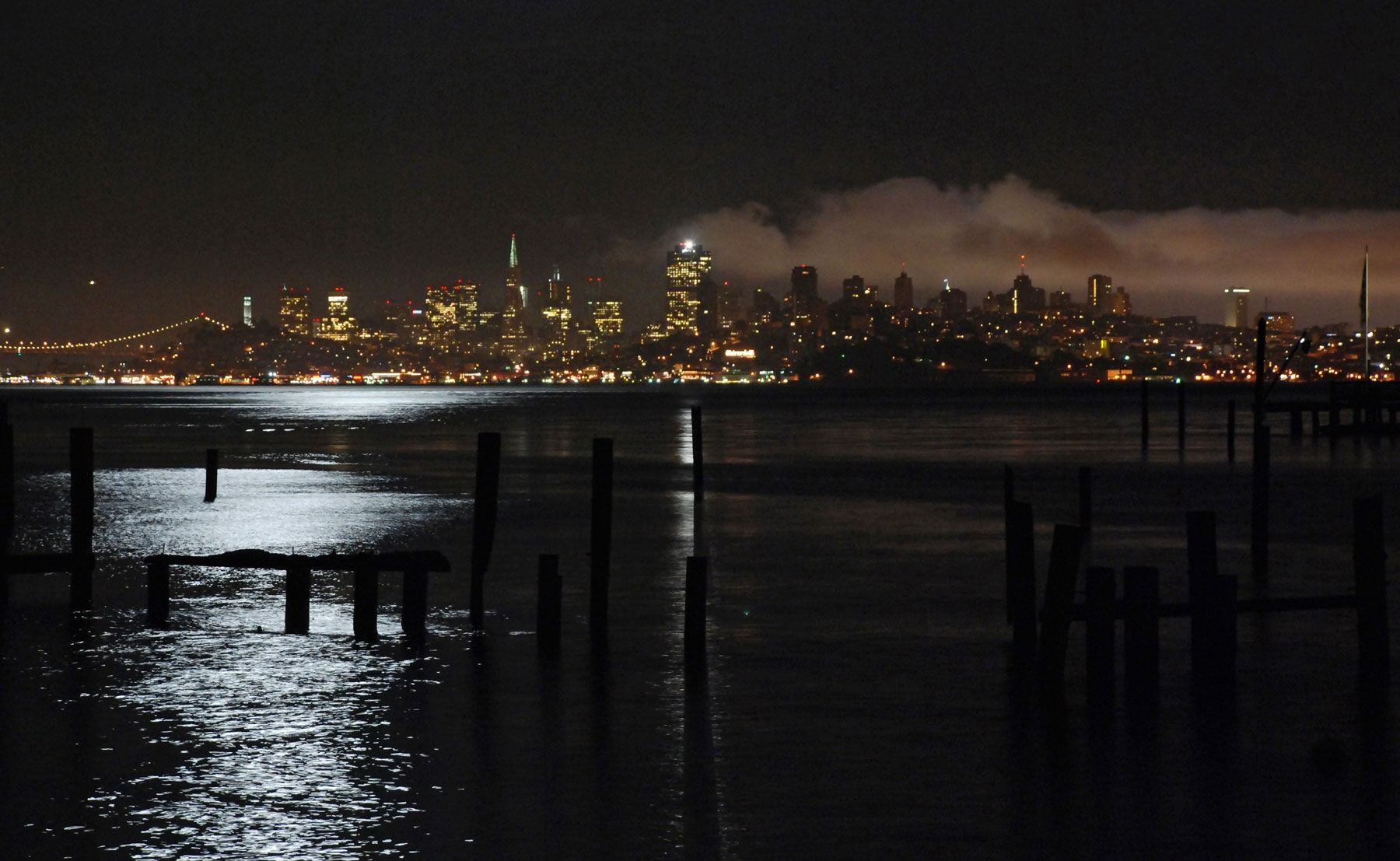 San Francisco from Sausalito fog rolling into the city