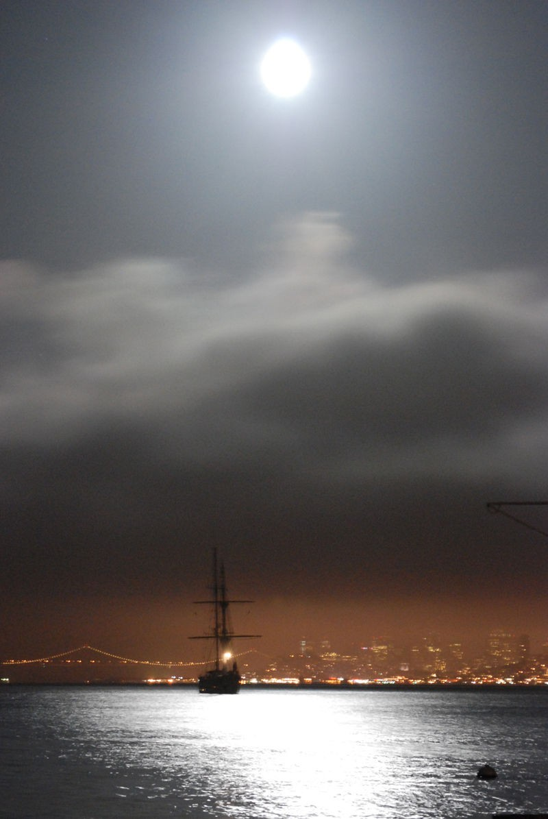 Ship in the Moonlight and fog on San Francisco Bay