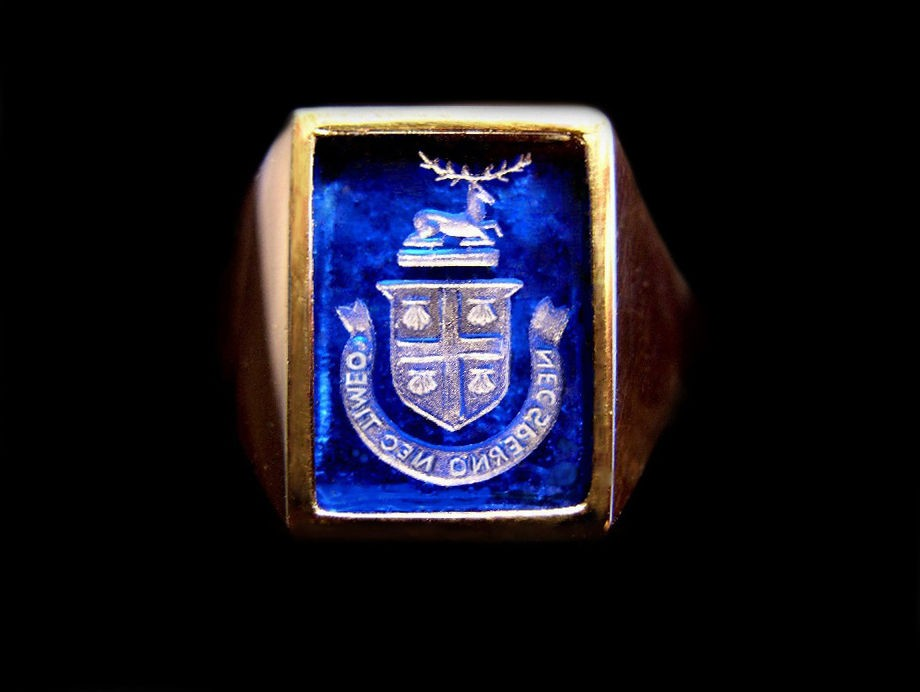 Carved Family Crest Ring for the Cogswell Family