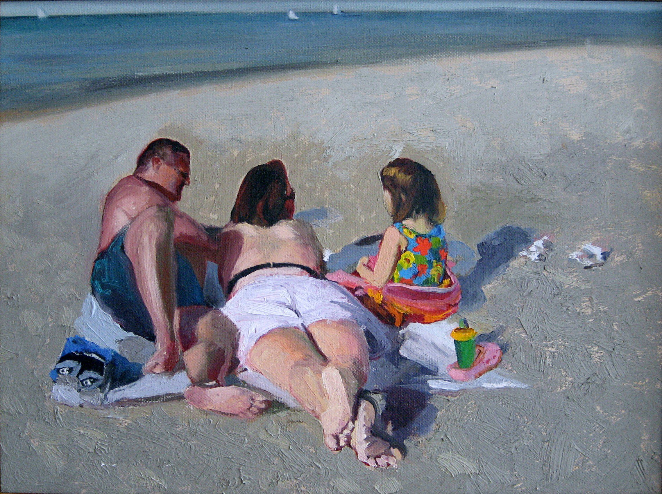 "Family on the Beach, Lake Michigan  16"" x 20""oil on canvas by Ann Ponce"