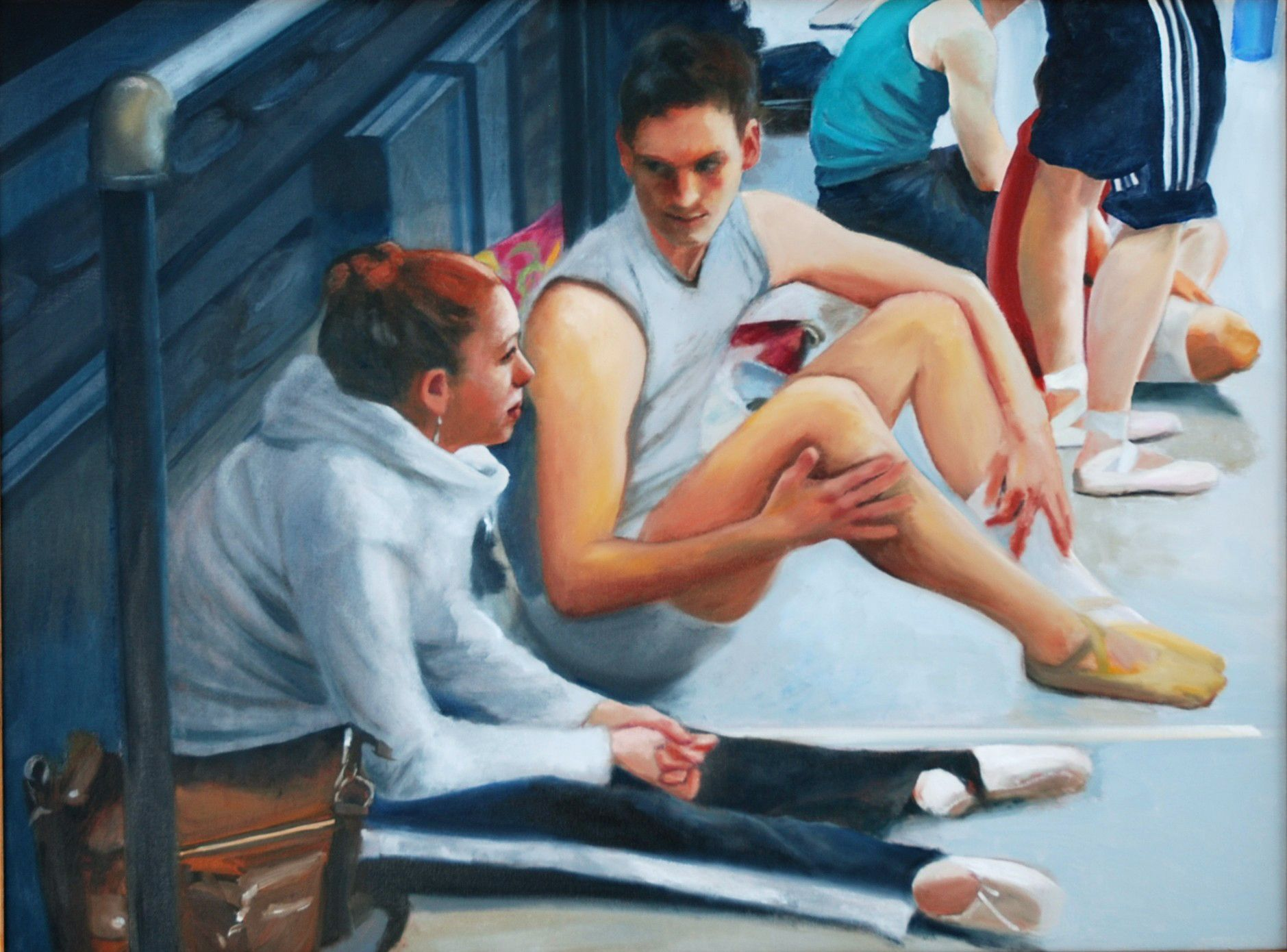 "Conversation  30"" x 40""oil on canvas by Ann Ponce"