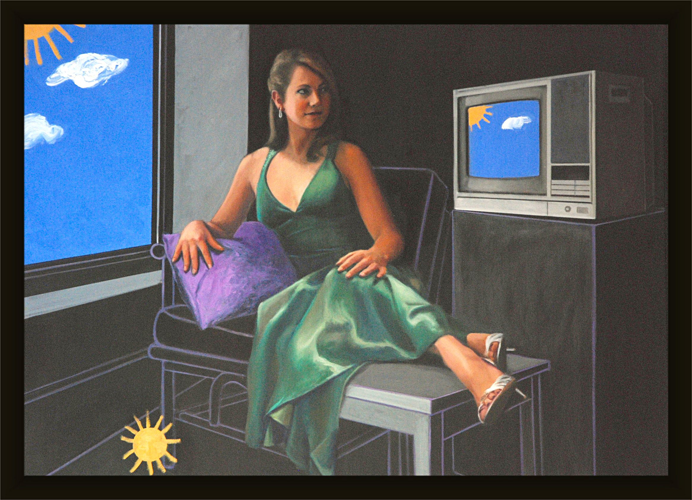 "Mostly Sunny (Ginger Zee, Channel 5 Weather Chicago)  44"" x 60""oil on canvas by Ann Ponce"