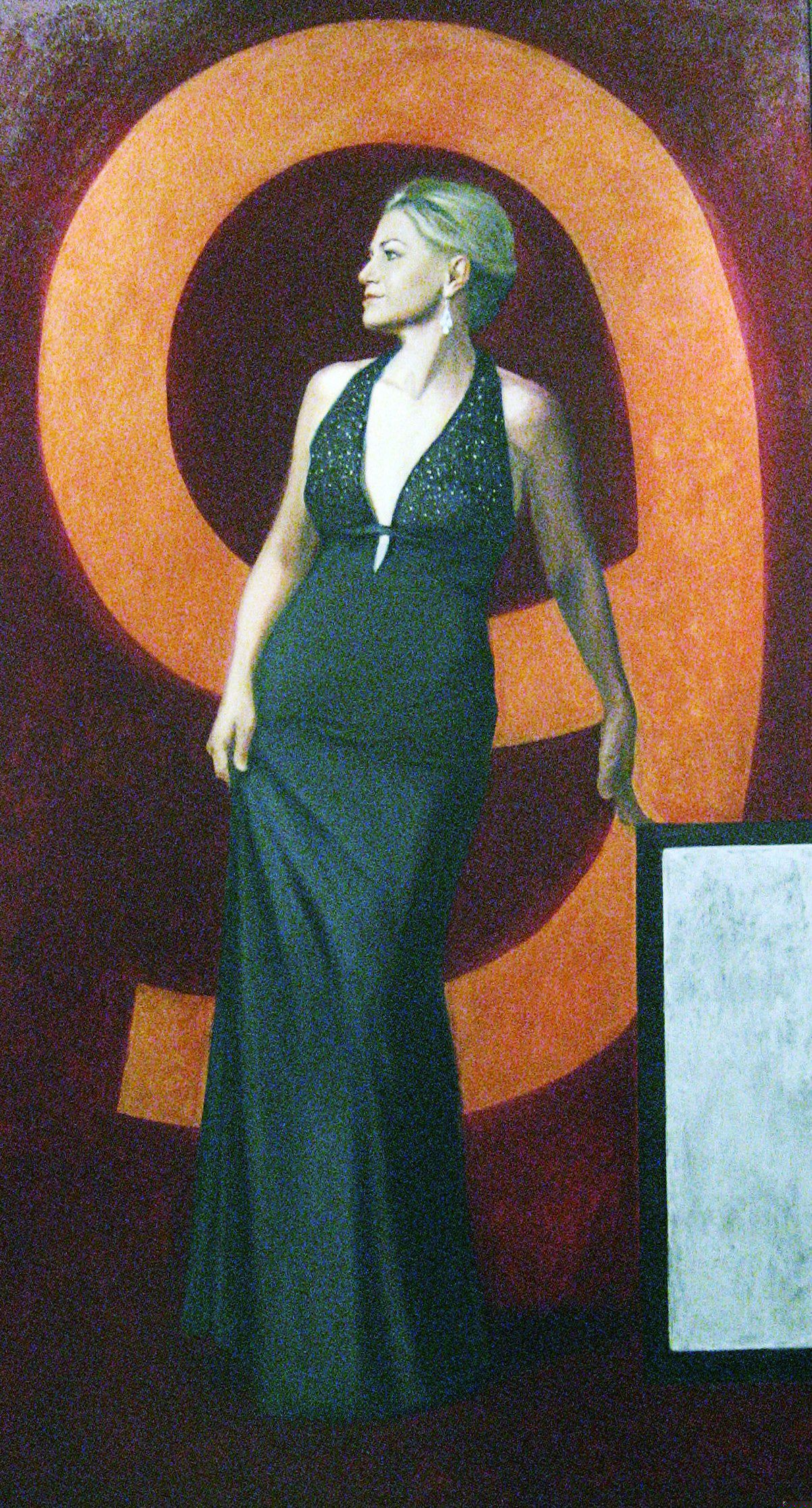 "Madame 2009 (Jackie Bange, WGN Channel 9 Chicago) 84"" x 46""oil on canvas by Ann Ponce"