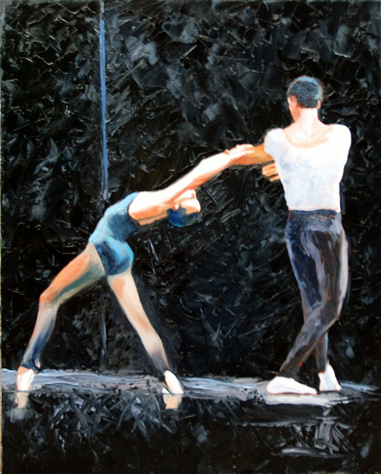 "Two Dancers, Stravinsky Violin Concerto  30"" x 24""oil on canvas by Ann Ponce"