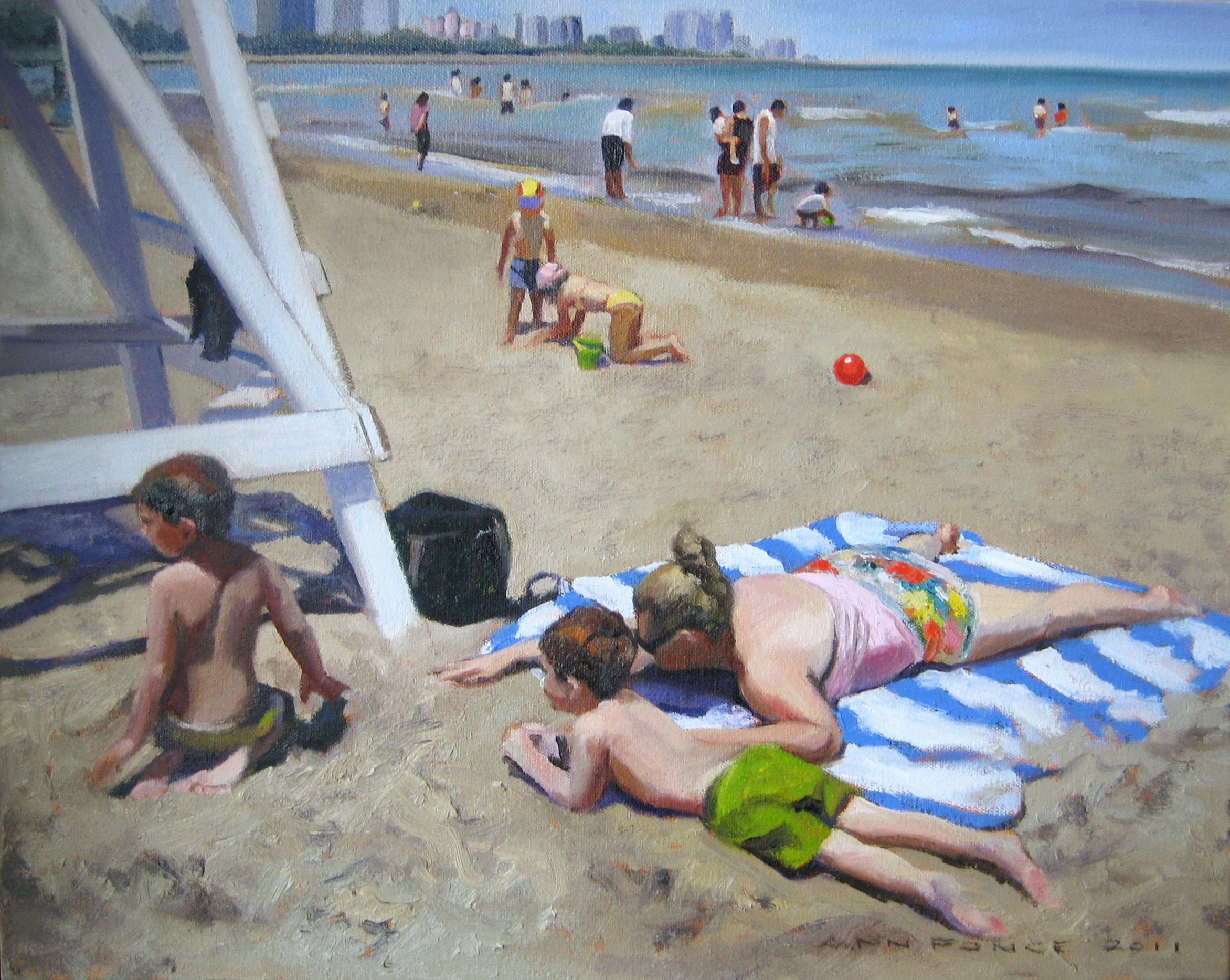 "Beach Figures with Lifeguard Stand  20"" x 24""oil on canvas by Ann Ponce"