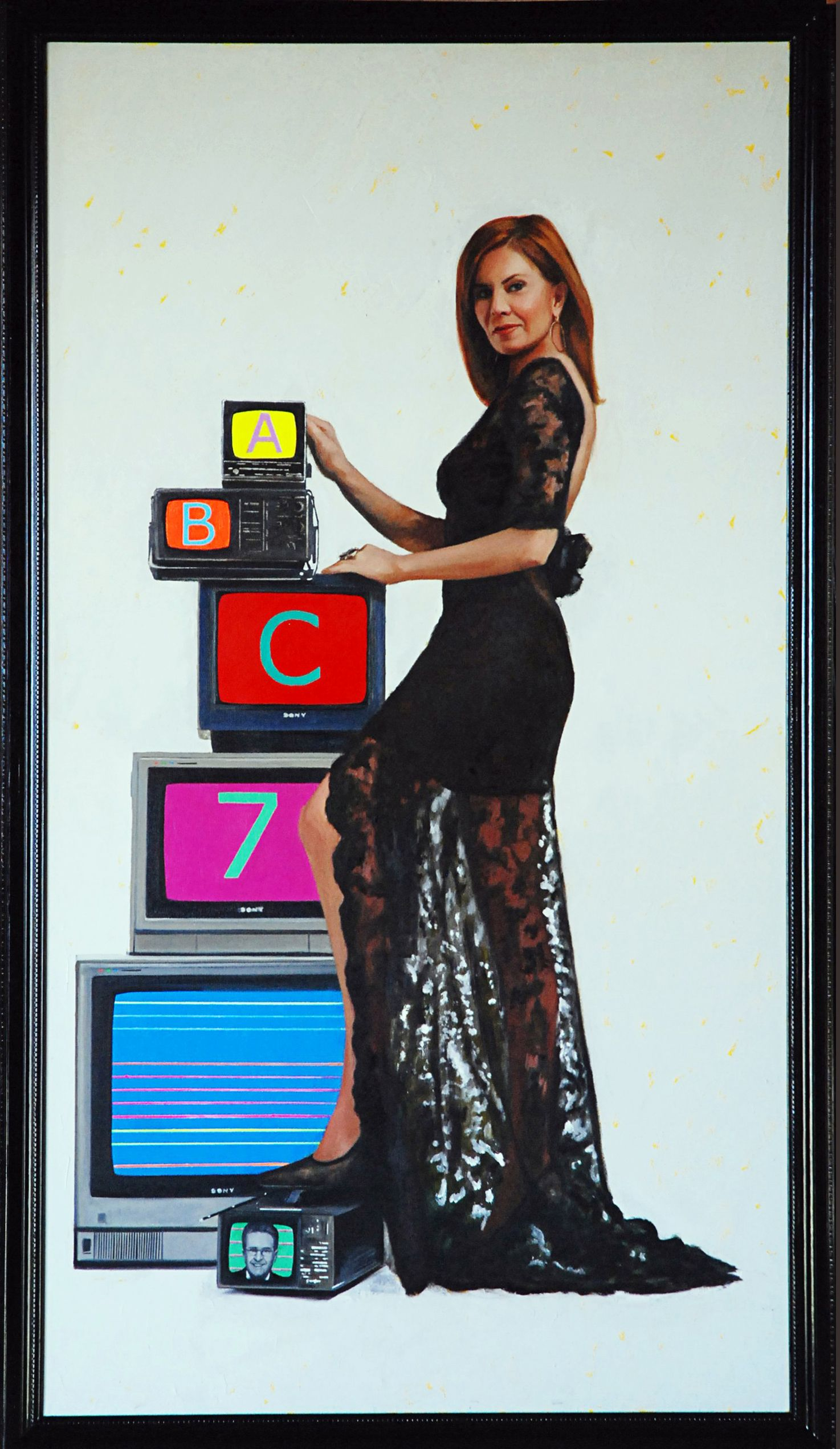 "Madame Seven (Kathy Brock, Channel 7 Chicago)  84"" x 48""oil on canvas by Ann Ponce"