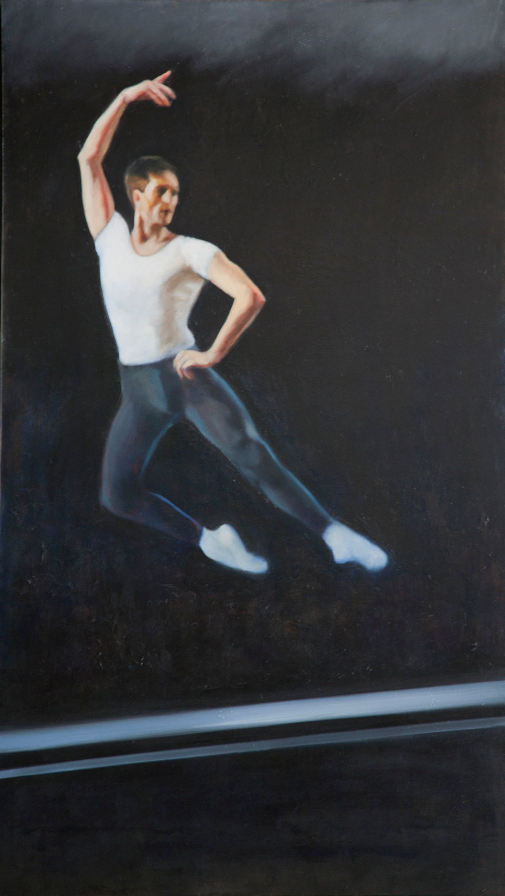 "Jumping Dancer, Joffrey Ballet Chicago  70"" x 40""oil on canvas by Ann Ponce"