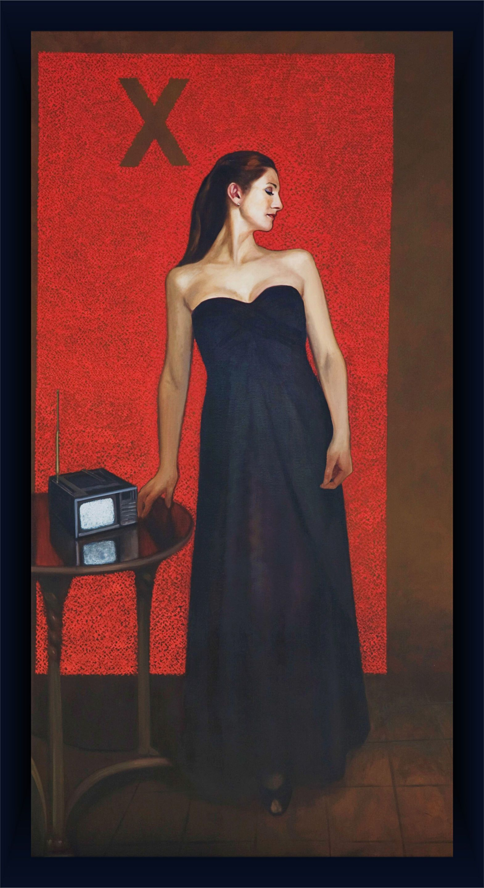 "Madame Generation X (Anna Davlantes, Fox 32)  84"" x 46""oil on canvas by Ann Ponce"