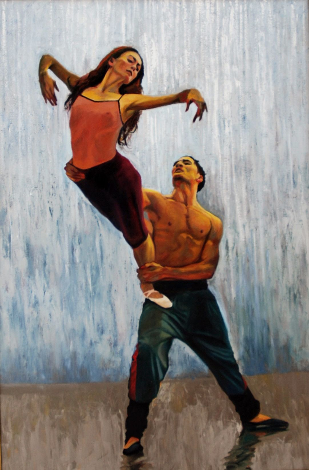 "Couple Rehearsing ""After the Rain""  72"" x 48""oil on canvas by Ann Ponce"