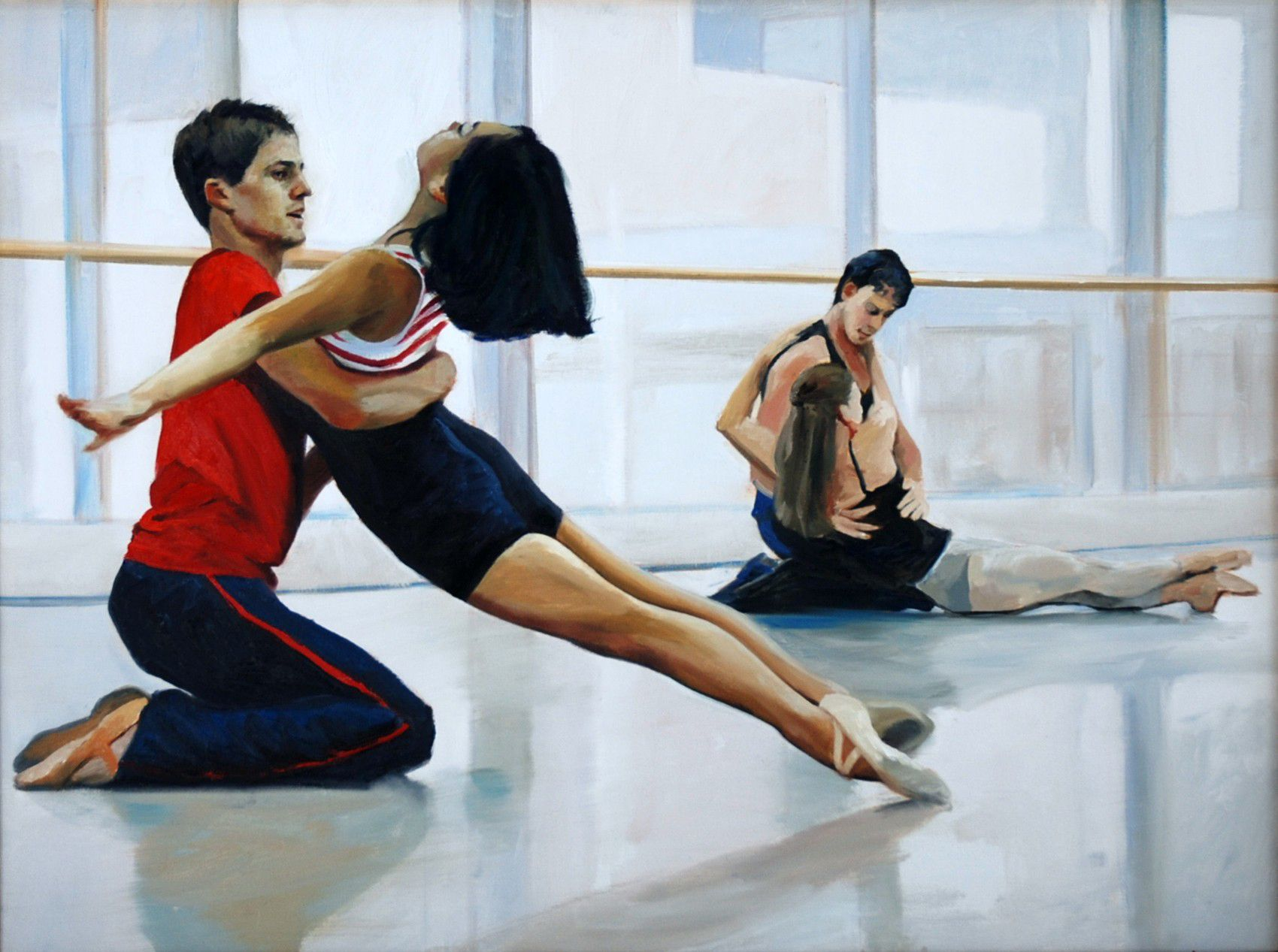"Dancers Rehearsing ""After the Rain""  Joffrey Ballet Chicago  30"" x 40""oil on canvas by Ann Ponce"