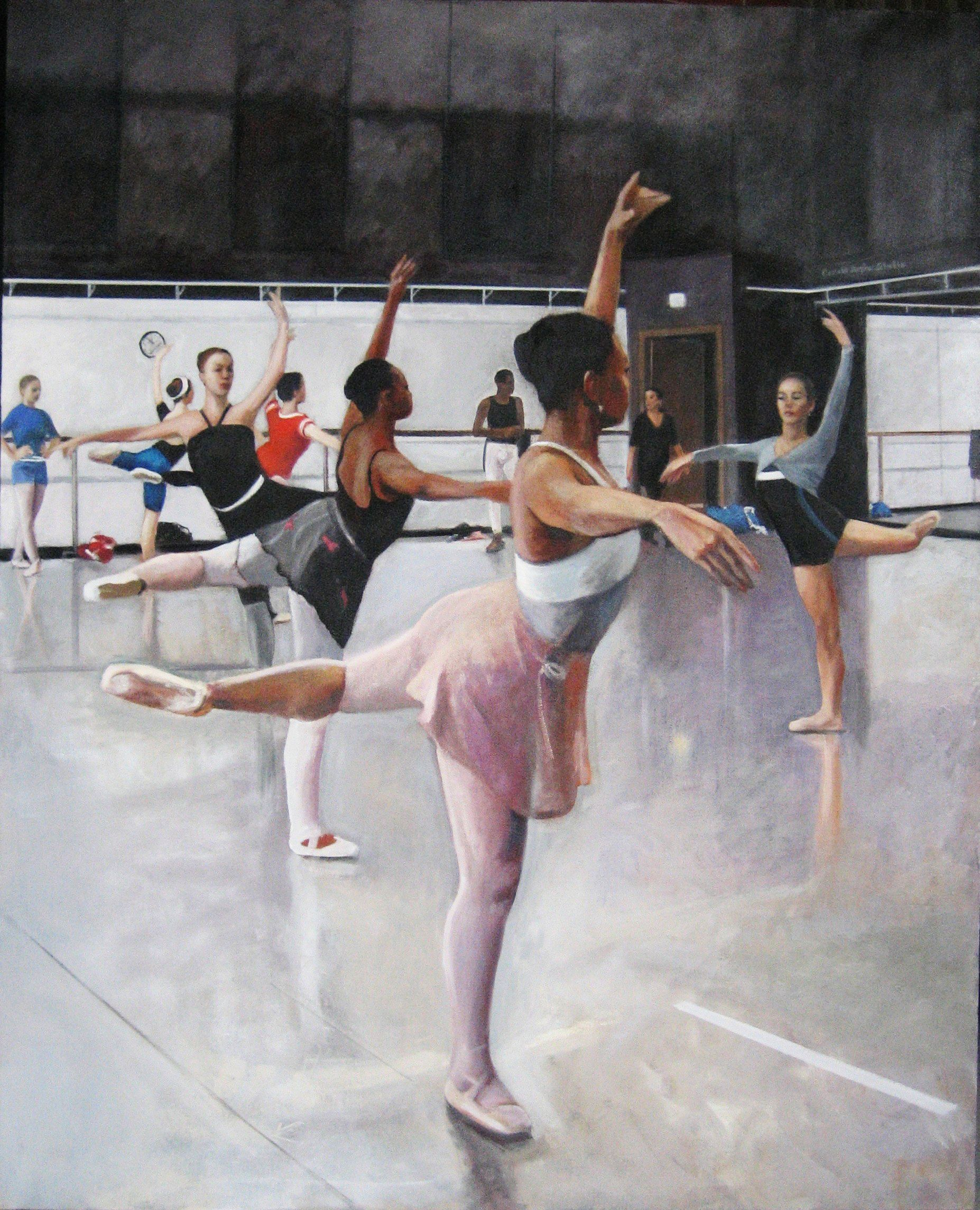 "Class, Arpino Studio, Joffrey Ballet Chicago 2011  64"" x 52""oil on canvas by Ann Ponce"