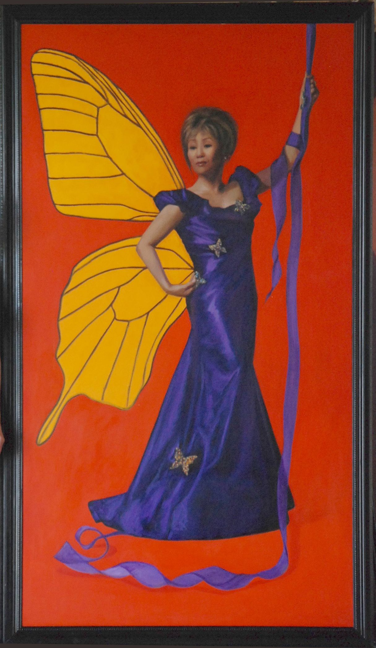 "Madame Butterfly (Linda Yu, Channel 7 Chicago)  84"" x 46""oil on canvas by Ann Ponce"