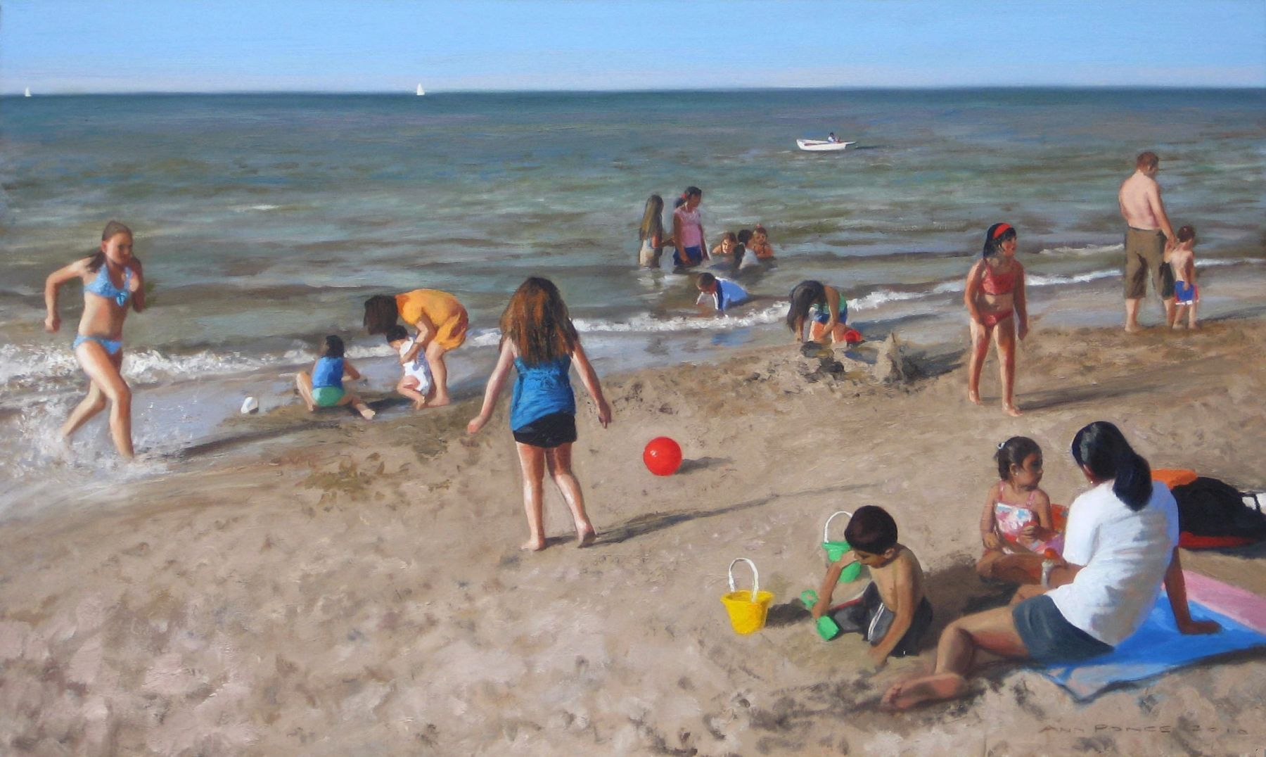 "Figures on Montrose Beach 36"" x 60"" oil on canvas by Ann Ponce"
