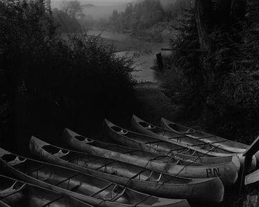 Canoes, Russian River At Monte Rio, Fall, Redwood Coast, California.