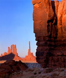 Rock Shadow on Yei Bei Che, Monument Valley Navajo Tribal Park, Arizona - Utah