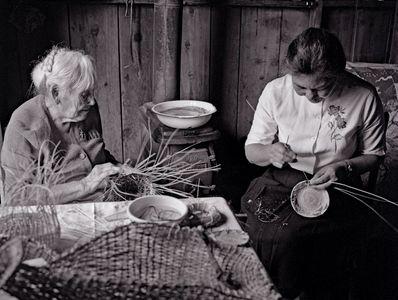 Daisy and Lilly Baker, Last of the Elder Maidu Indian Basket Weavers, Northern Sierra Nevada, California