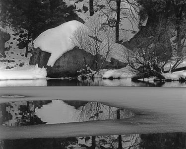 Boulder, Snow Reflections, Mirror Lake, Yosemite Valley, Yosemite National Park, Sierra Nevada, California